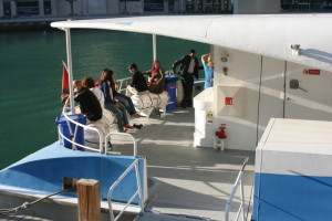 The exterior area of the ferry which is accessible from the Silver Class cabin.