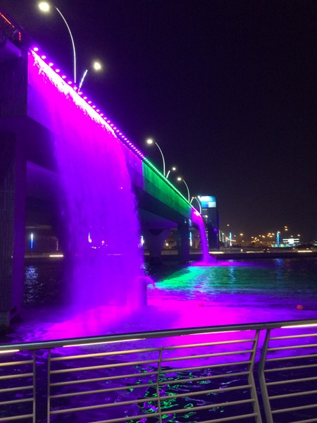 Dubai Water Canal Waterfall Lights
